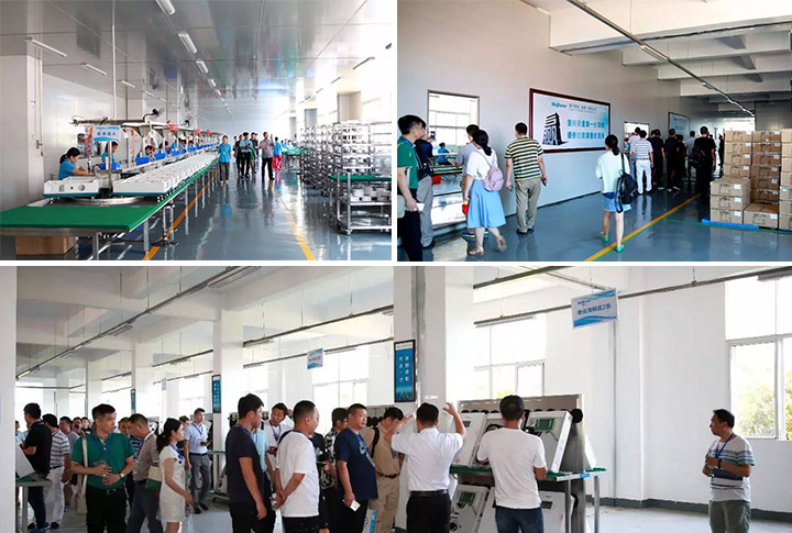 The guests also visited the assembly line production process, material warehouse, product aging process, etc.